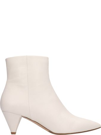 The Seller Pointed Toe White Calf Leather Ankle Boots