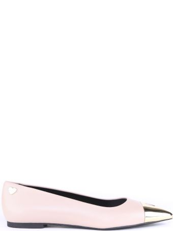 Love Moschino Pink Leather Ballerina Shoes