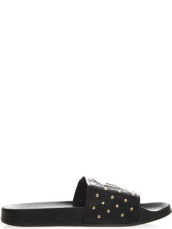 Versace Black Rubber Mini Studs Slipper Sandal
