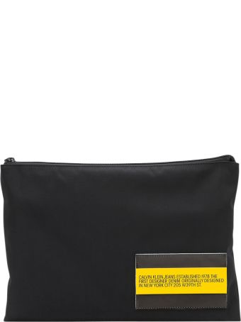 Calvin Klein Jeans Nylon Pouch With Leather Pouch