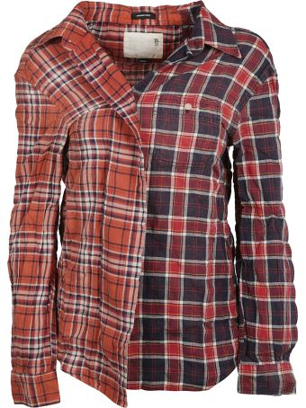 R13 Asymmetric Checked Shirt