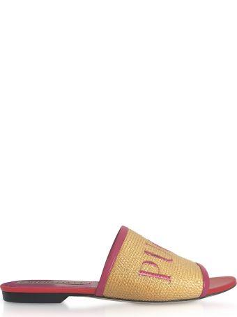 Emilio Pucci Raffia & Leather Slipper W/embroidered Logo