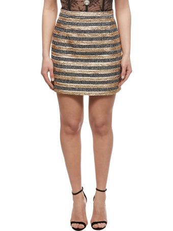 Alessandra Rich Striped Tweed Mini Skirt