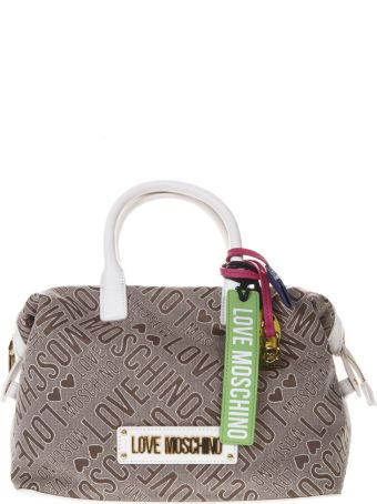 Love Moschino Taupe Canvas Bag With All Over Logo