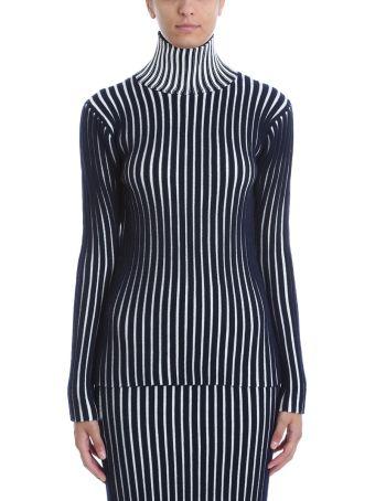 Victoria Victoria Beckham Striped Structured Turtle Neck Sweater