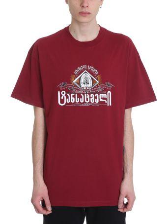 VETEMENTS Burgundy Cotton T-shirt