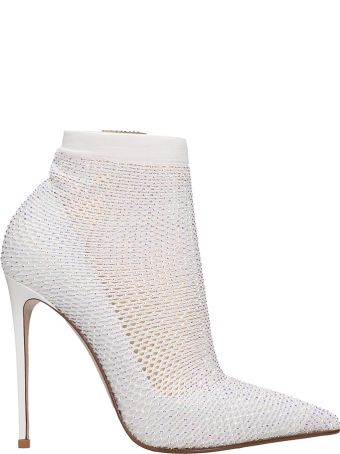 Le Silla High Heels Ankle Boots In White Tech/synthetic