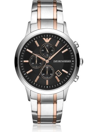 Emporio Armani Renato Stainless Steel And Rose Gold 3-chain Strap Chronograph Men's Watch