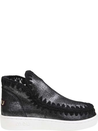 Mou Sneakers In Suede Glittered Leather Color Black