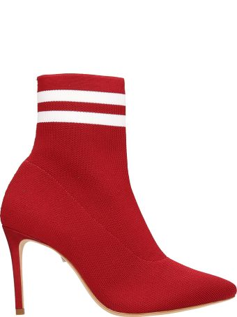 Schutz Red White Sock Ankle Boots