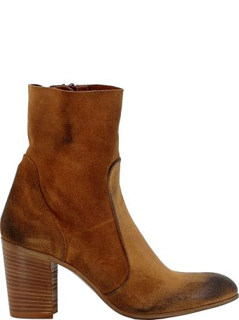 Elena Iachi Brown Leather Ankle Boots
