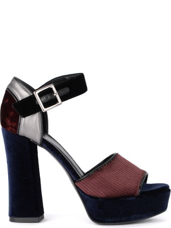 Tipe e Tacchi Blue And Wine Velvet Heeled Sandal.