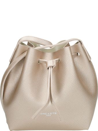 Lancaster Paris Mini Bucket Champagne Saffiano Leather Bag