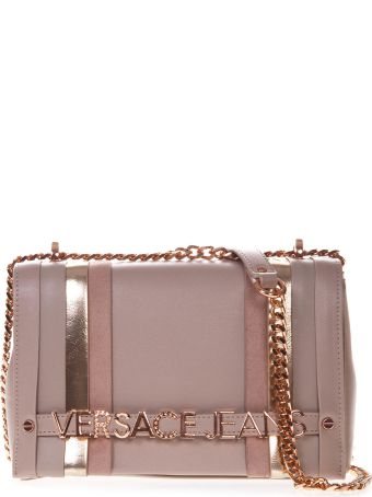 Versace Soft Pink Faux Leather Shoulder Bag With Logo