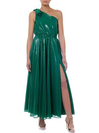 MSGM Green One Shoulder Long Dress