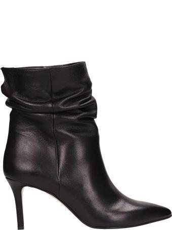 Marc Ellis Black Calf Draped Ankle Boots