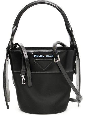 Prada Nylon And Leather Ouverture Bucket Bag