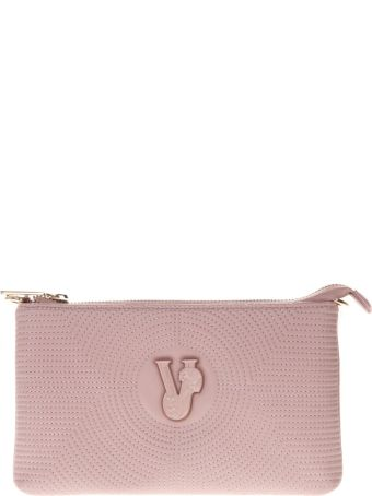 Versace Pink Faux Leather Clutch With Shoulder Strap