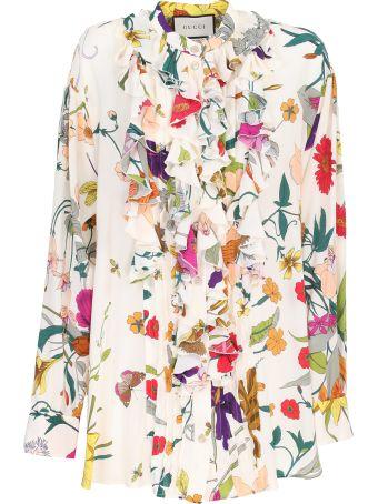Gucci Flora printed silk shirt