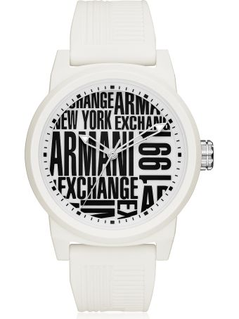 Armani Collezioni Armani Exchange Atlc White Silicone Men's Watch