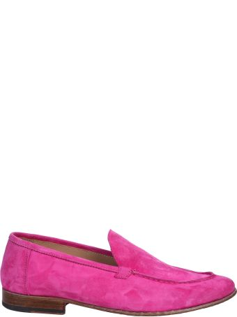 Seboy's fuchsia suede moccasin and leather sole