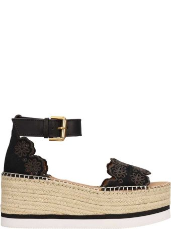 See by Chloé Glyn Black Embroidered Floral Wedge Sandals