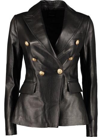 Tagliatore 0205 Lizzie Leather Double Breasted Blazer