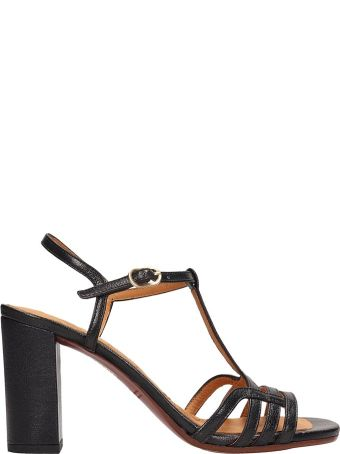 Chie Mihara Black Leather Bely Sandals