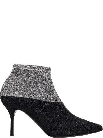 Pierre Hardy Black Silver Lurex Ankle Boots
