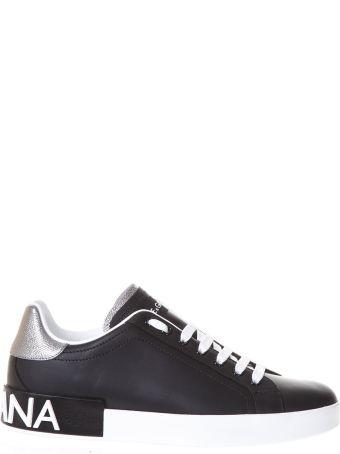 Dolce & Gabbana Portofino Black Sneakers In Nappa Calfskin