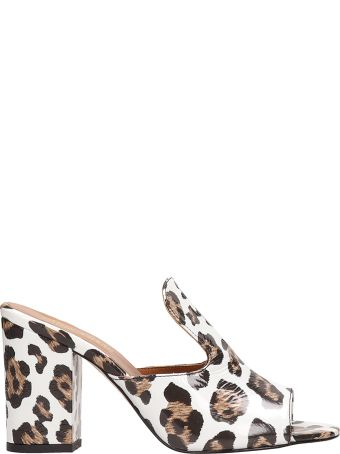 Paris Texas Sabot Sandals In Spotted White Patent Leather