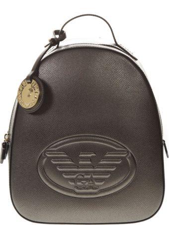 Emporio Armani Metal Saffiano Faux Leather Backpack