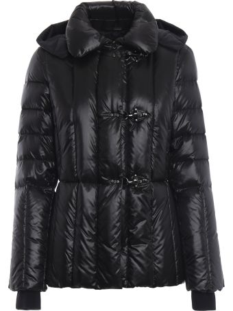 Fay Black Padded Jacket With Removable Hood
