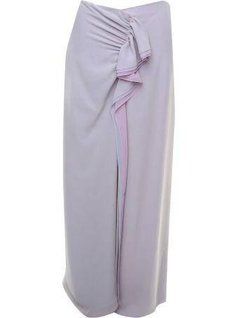 Giorgio Armani Draped Silk-georgette Midi Skirt