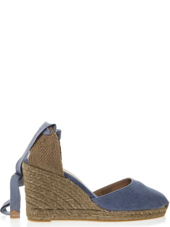 Castañer Light Blue Carina Canvas Espadrillas Wedges