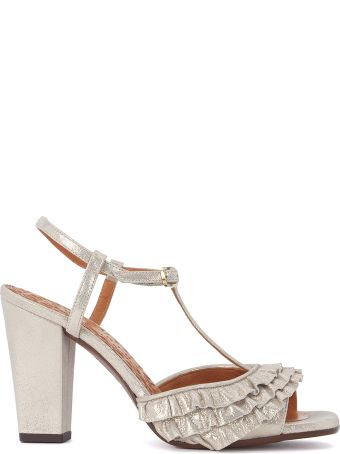 Chie Mihara Brunella Metallic Leather Heeled Sandal With Rouches