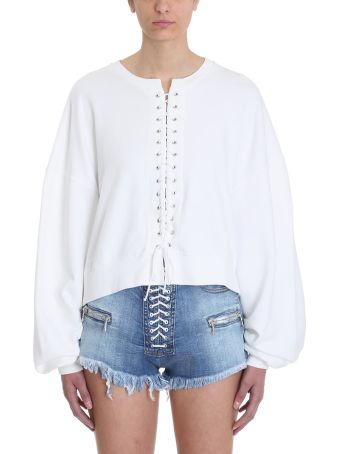 Ben Taverniti Unravel Project White French Terry Oversize Lace-up Sweatshirt