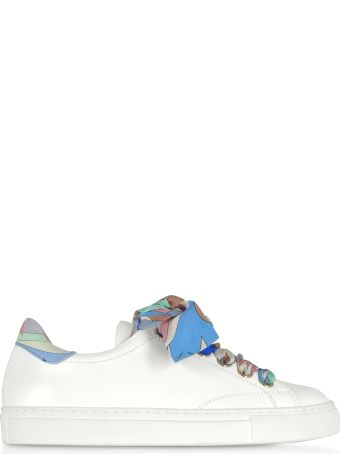 Emilio Pucci White Leather Low-top Sneakers W/silk Printed Laces