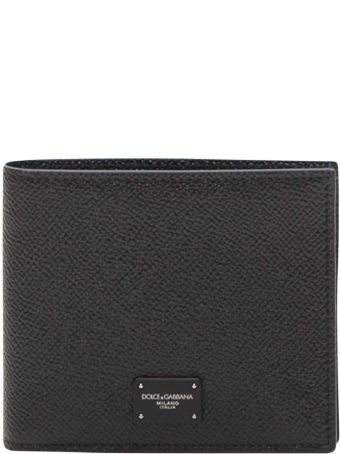 Dolce & Gabbana Textured Leather Billfold Wallet With Logo Label