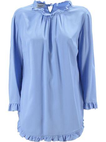 Dondup Light Blue Blend Silk Top.