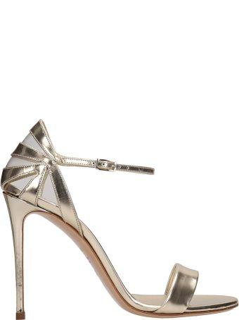 Casadei Platinum Leather Sandals