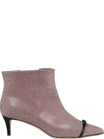 Marco de Vincenzo Crystal Bow Embellished Ankle Boots