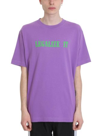 Palm Angels Legalize Purple Cotton T-shirt
