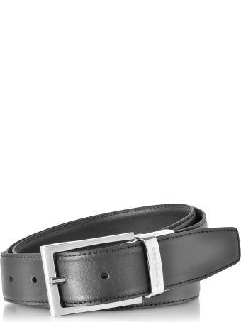 Ermenegildo Zegna Black/dark Brown Smooth Leather Reversible And Adjustable Belt