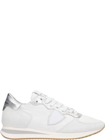 Philippe Model Trpx L Sneakers In White Suede And Fabric