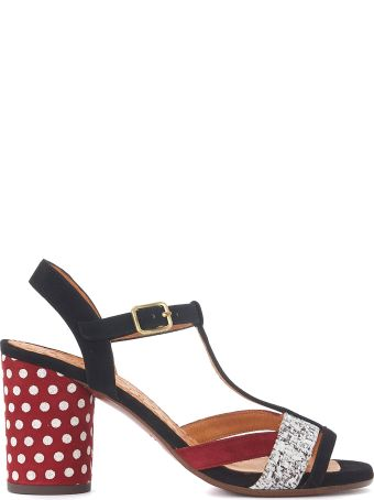 Chie Mihara Ujo Black And Red Polka Dots Suede Heeled Sandal