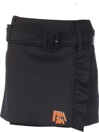 Prada Miniskirt With Rouches On The Side And Logo