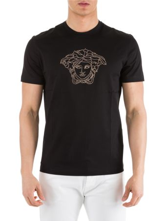 Versace  Short Sleeve T-shirt Crew Neckline Jumper Medusa