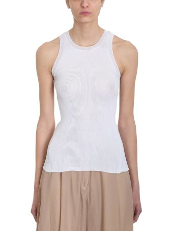 Maison Flaneur Rib Knit White Viscose Top