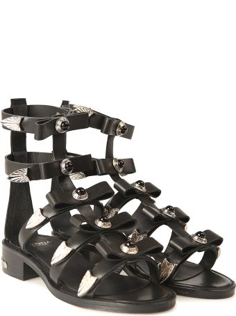 Toga Pulla Studded Leather Bow Sandal